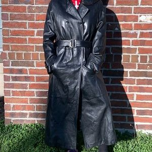Black leather belted trench coat l Wilson's 3M